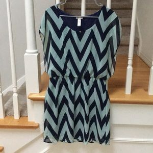 Blue and Teal Chevron Dress